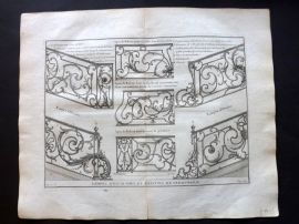 Vignola 1738 Architectural Print. Decoration for Staircases & Balconies 65D